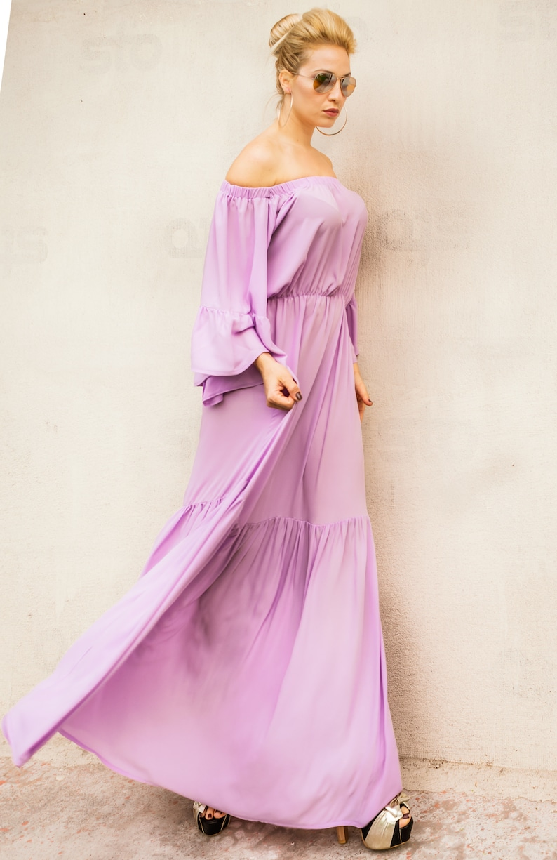 NEW Pink Flounces Maxi Dress / Plus Size Dress / Spring Dress / Summer  Dress / Chiffon Dress / Kaftan / Maternity Dress / #35327