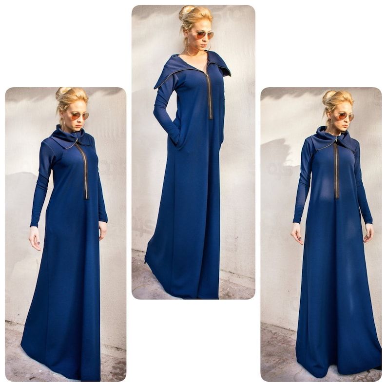 NEW Blue Maxi Dress with Zipper / Plus Size Dress / Front Zipper Maxi Dress  / Plus Size Maxi / Long Sleeve Dress / #35315