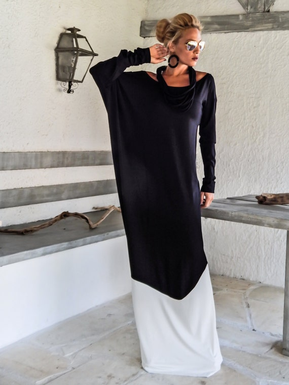 Black & White Maxi Dress / Black and White Abaya Kaftan / Plus Size Dress /  Black White Dress / Plus Size Maxi / Loose Dress / #35112