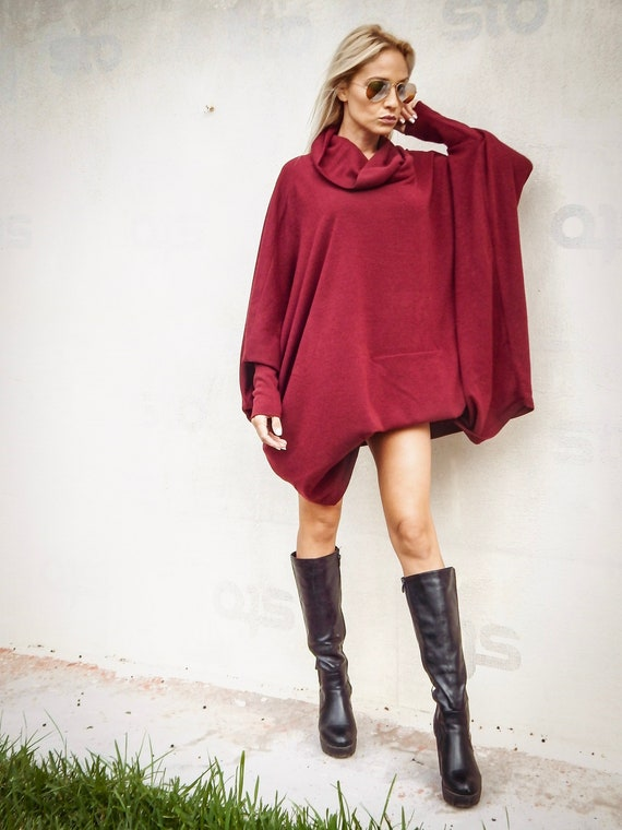 Tunic Dress Wide Loose Fit Asymmetric With Pockets Burgundy Red UK 12//14