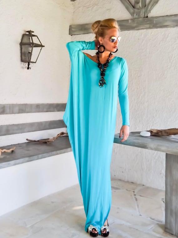 NEW Turquoise Maxi Dress / Asymmetric Maxi Dress / Plus Size Dress / Kaftan  / Caftan / Plus Size Kaftan / Long Sleeve Maxi Dress / #35224