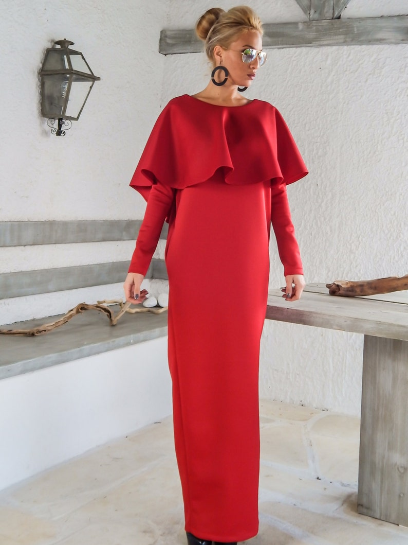 1163d2c11a0 Red Dress   Red Maxi Dress   Dress with Pockets   Cape Dress