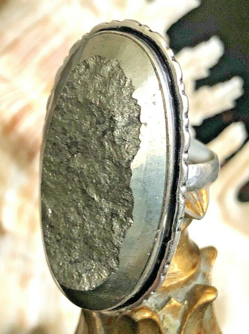 Large Natural Pyrite Statement Ring Unisex .925 Sterling Silver Size 8.5