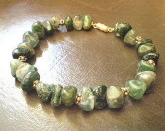 """Green Moss Agate and Sterling Silver Bracelet 7"""""""