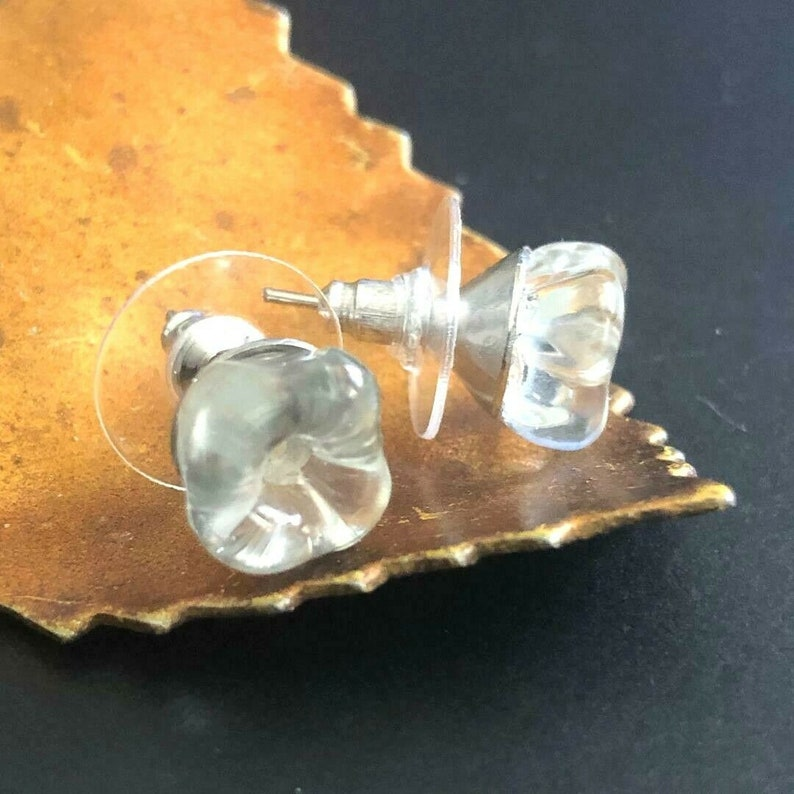BUTTON Earrings VINTAGE Glass Flower Buttons Clear Crystal Wedding Post Back 38
