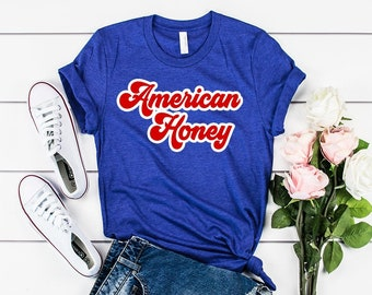 bc262d4210 Mens and Womens sizing American honey 4th fourth of july patriotic shirt t- shirt red white cute trending high quality 4th of July stars