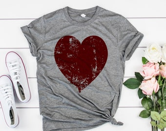 a1b581a6c819 Valentines day Distressed Heart Womens Valentine Day Shirt - High Quality  Screen Printed Tees! Valentines Day Shirts For Women, heart shirt