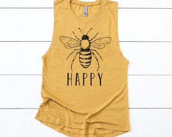 966d4acd030b28 Bee Happy Cute Womens Spring Tank Top Muscle Shirt Bees Save Earth Gift For  Mom