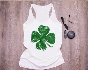 456a7054 St Patricks Day Tank Top Womens St Pattys Day Tanks, Shamrock Tank Top For  Women four leaf clover tank top