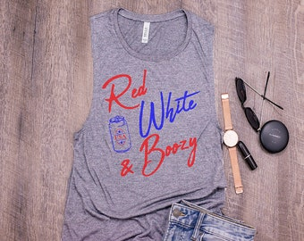 Red White /& Boozy 4th of July Graphic Tank