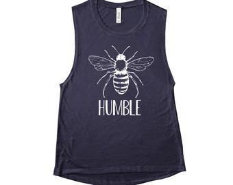 451db9eaeea Be Bee Humble Cute Womens Muscle Tank Top Sleeveless Shirt Spring Summer  Tees