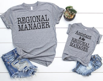 Fathers Day Shirts - Regional Manager - Assistant to the Regional Manager - Matching Set Adult Shirt & Baby Toddler Shirt - Matching