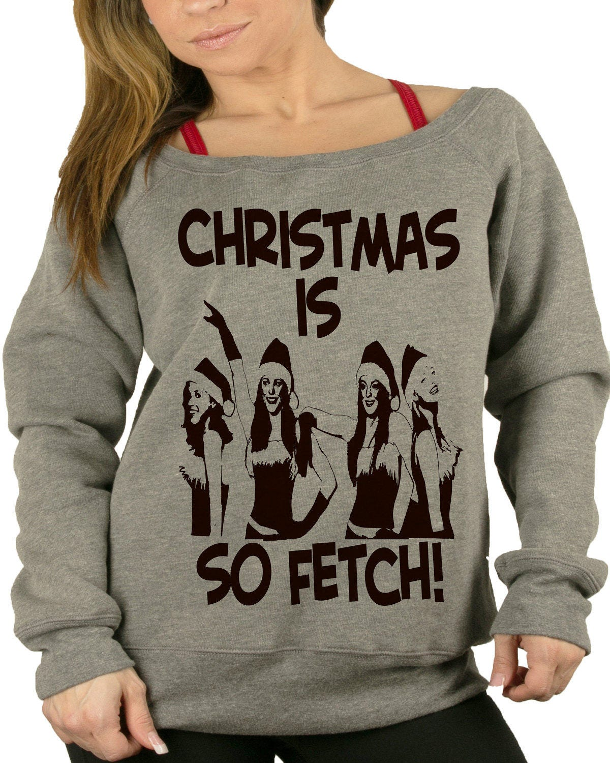 christmas is so fetch mean girls womens off shoulder sweater mean girls sweater - Girls Christmas Sweater