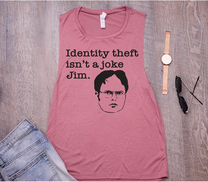 2f3648308 Womens tank office quote dwight schrute funny identity theft | Etsy