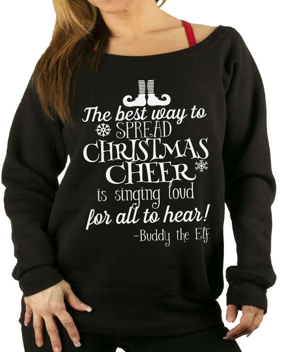 Christmas Sweater Buddy The Elf Cheer Christmas Sweater Etsy