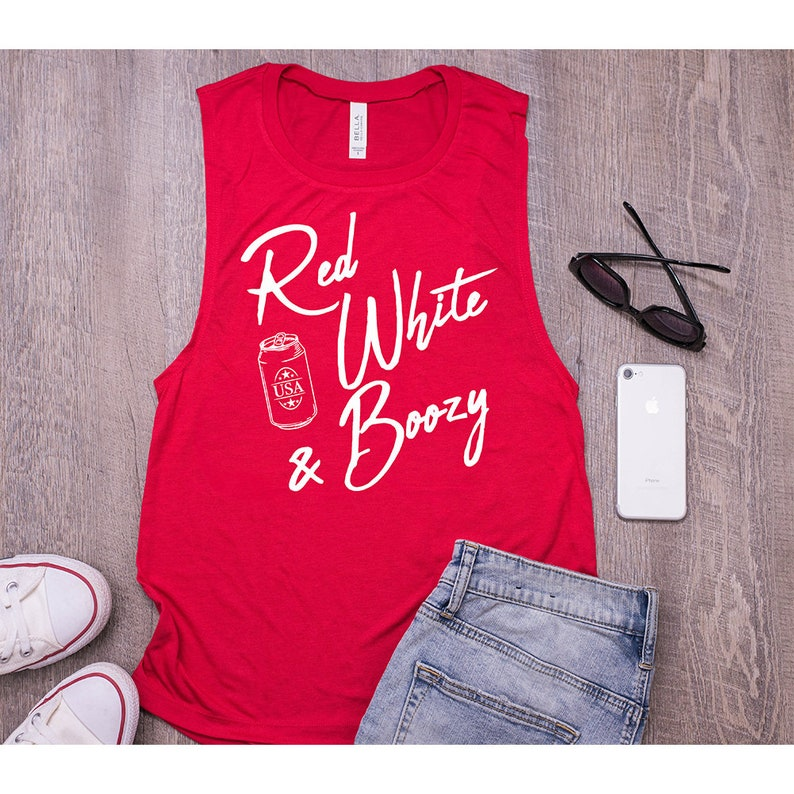 13216c676dfe76 Red White   Boozy Womens Memorial Day Muscle Tank Top