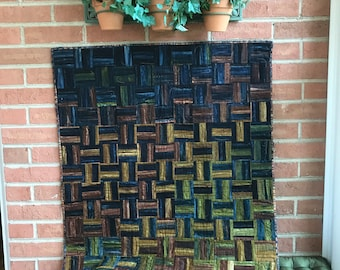 Modern Crosshatch Quilted Wallhanging in Earth Tones