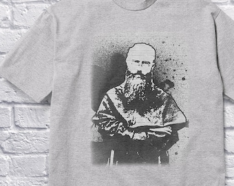 7237a932 Saint Maximilian Kolbe Street Art Spray Paint original design | dark on  light | Catholic Shirt | S to 4XL | Short-Sleeve Unisex T-Shirt