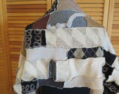 SweaterUP Shawl Cape Scarf Table Runner Black Beige Tan Brown Stripe Wool Shabby Chic Boho Hipster Tribal Gypsy Recycle VTG Fabric Sweater