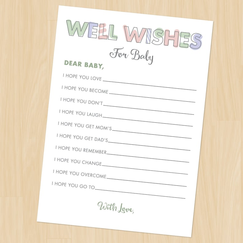 Baby Well Wishes Printable Baby Shower Game Download Gender image 0