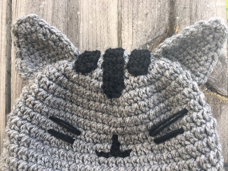 5ddefcf8619 Pusheen the Cat Inspired Beanie Hat with Ears Stripes Mouth