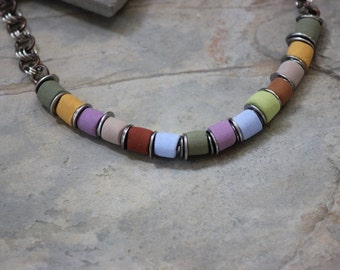 Whimsical Handmade Multi Colored Beaded Necklace N-0119