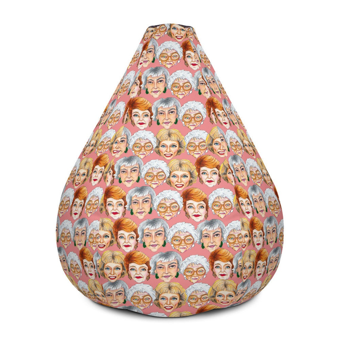 Golden Girls Patterned Illustration Bean Bag Chair w/ filling