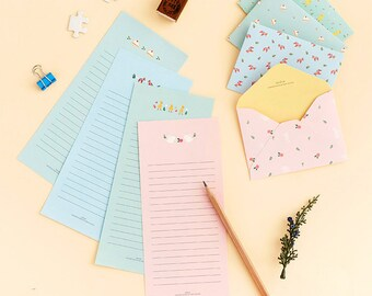 Mini Pastel Letter Paper & Envelope Set (Letter Paper 2 pcs + Envelope 1 pc) Korean Stationery Writing Kawaii Cute