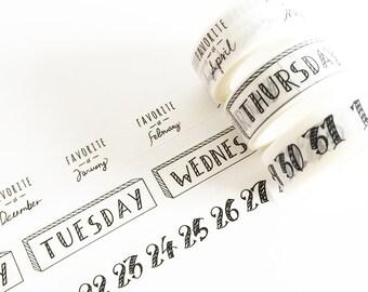 3 pcs Month / Week / Number Washi Tape (1 pc) Korean Stationery Masking Tape Deco Tape T0114