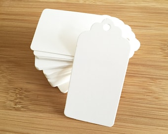 50 pcs / 100 pcs White Scallop Blank Tags Favor Tags Swing Tags Card Blanks