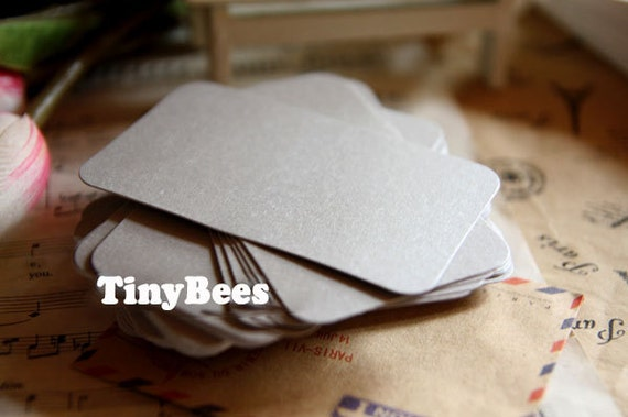 Glossy blank business cards silver 20 pcs round corner business glossy blank business cards silver 20 pcs round corner business card colored cardstock c0023 from tinybees on etsy studio reheart Images