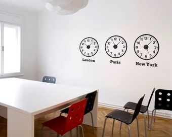 Time Zone Clocks Wall Sticker Set (mechanisms included)
