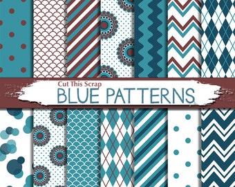 Blue pattern Digital Paper: Blue Pattern paper in bokeh argyle stripes and floral patterns in blue dark blue maroon background