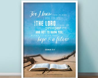NEW Jeremiah 29:11 A4 Christian Poster - Glossy
