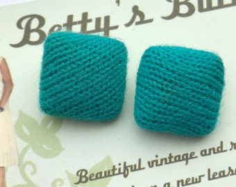 Vintage Buttons - green fabric button