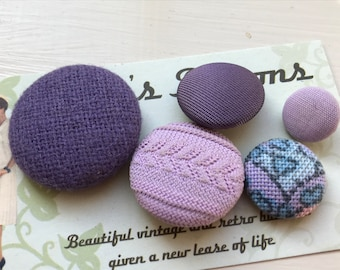 Vintage Buttons - mixed fabric buttons - M