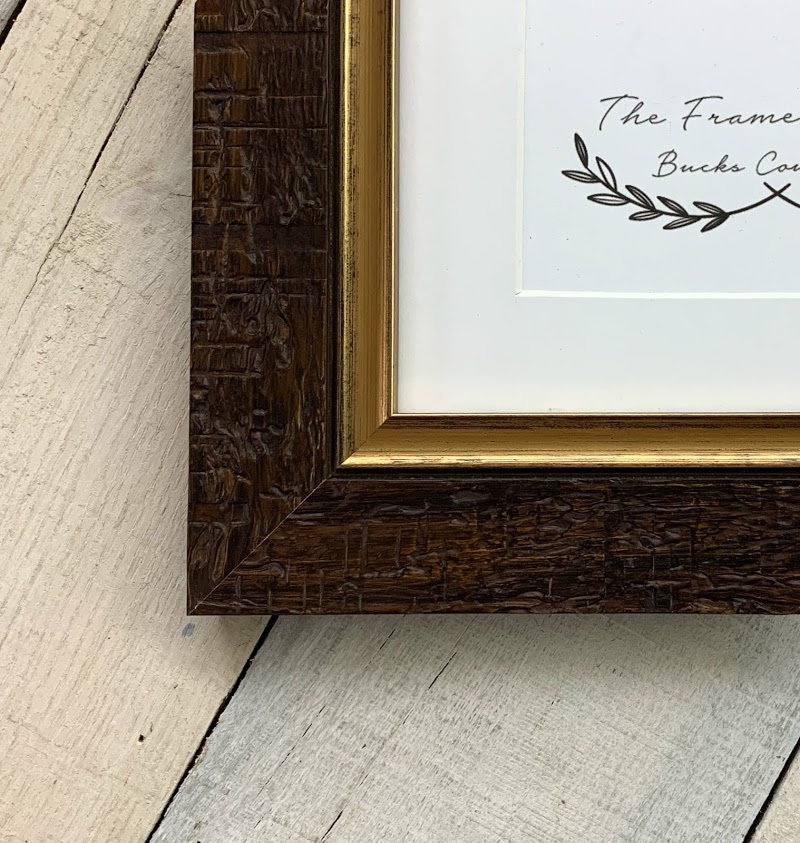Aspen Dark Gold Distressed Wood Picture Frame With White
