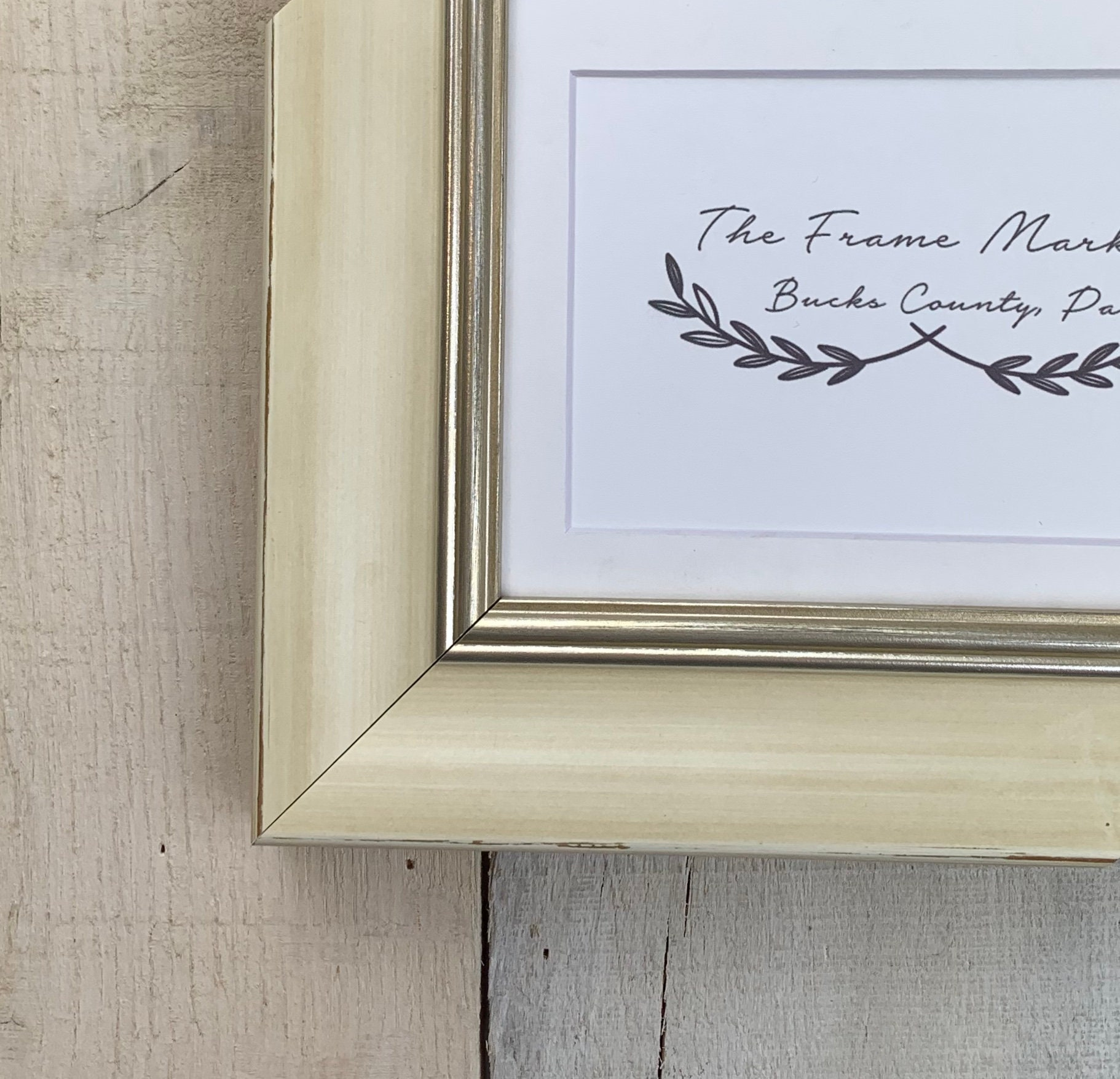 Mina Bevel Antique Cream Wood Picture Frame With White Mat