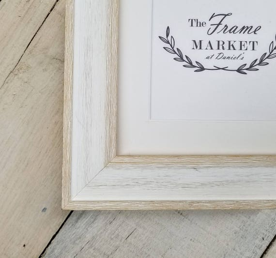 Alby White Wash Barn Wood Art Picture Frame With White Mat Etsy