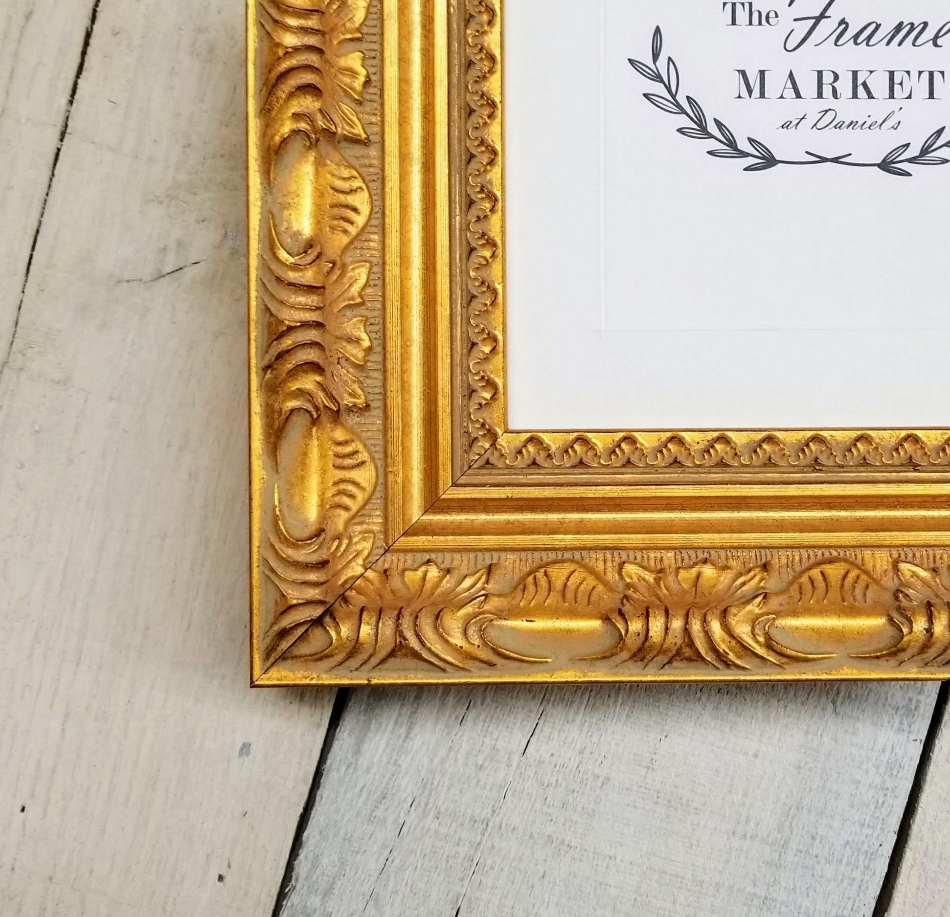 Versailles Gold Wood Picture Frame With White Mat 8x10