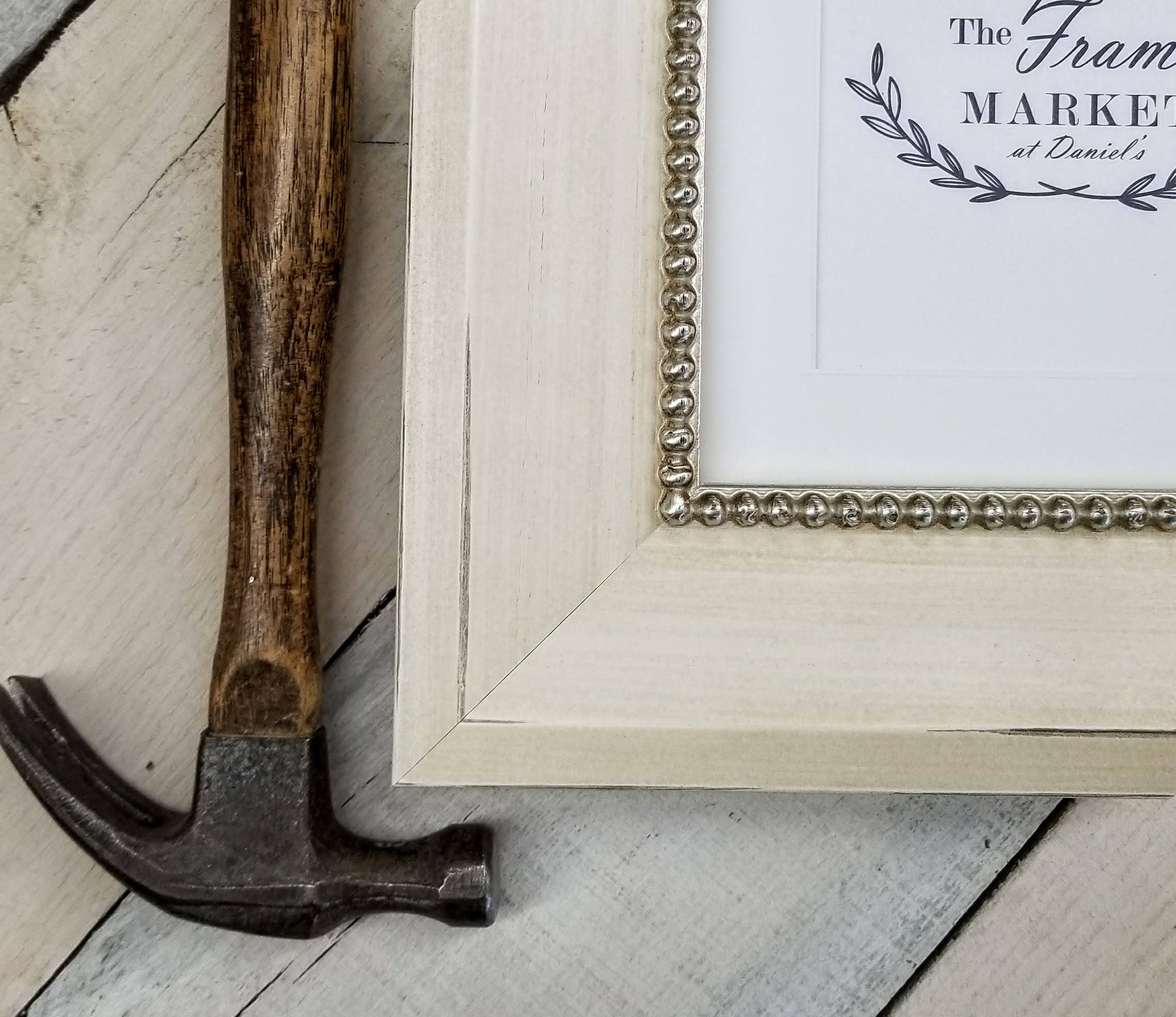 Mina Bevel Bead Rustic Cream Wood Picture Frame With White