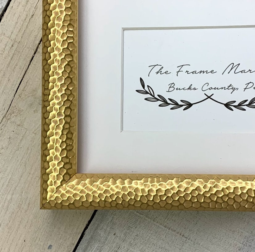 Honeycomb Gold Hammered Wood Picture Frame With White Mat