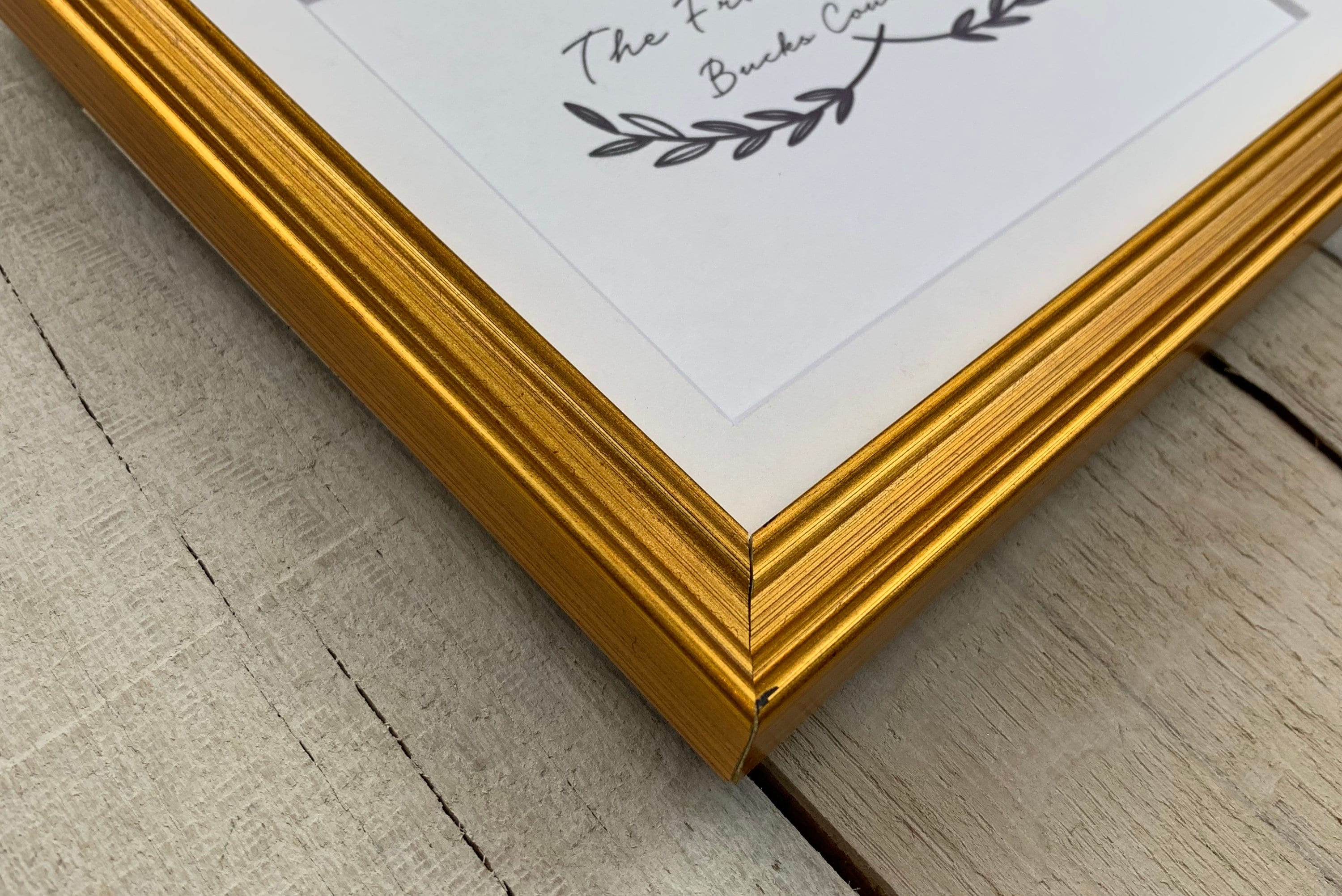 Plein Air Gold 5 8 Wood Picture Frame With White Mat