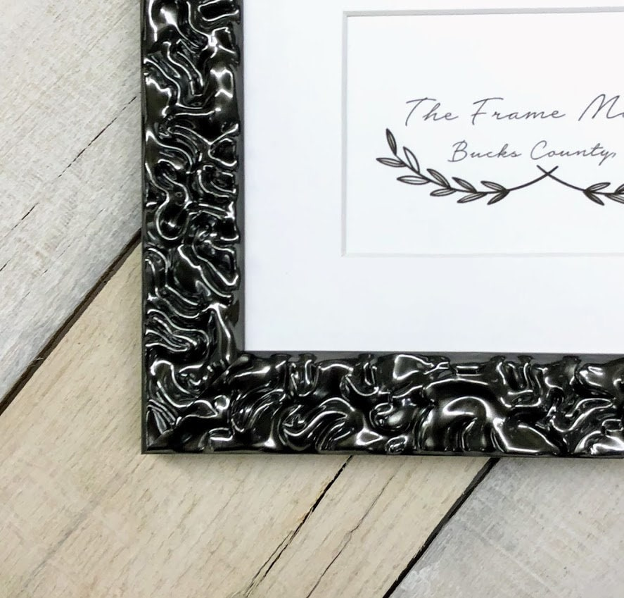 Picasso Gloss Pewter Wood Picture Frame With Mat 5x7 6x8