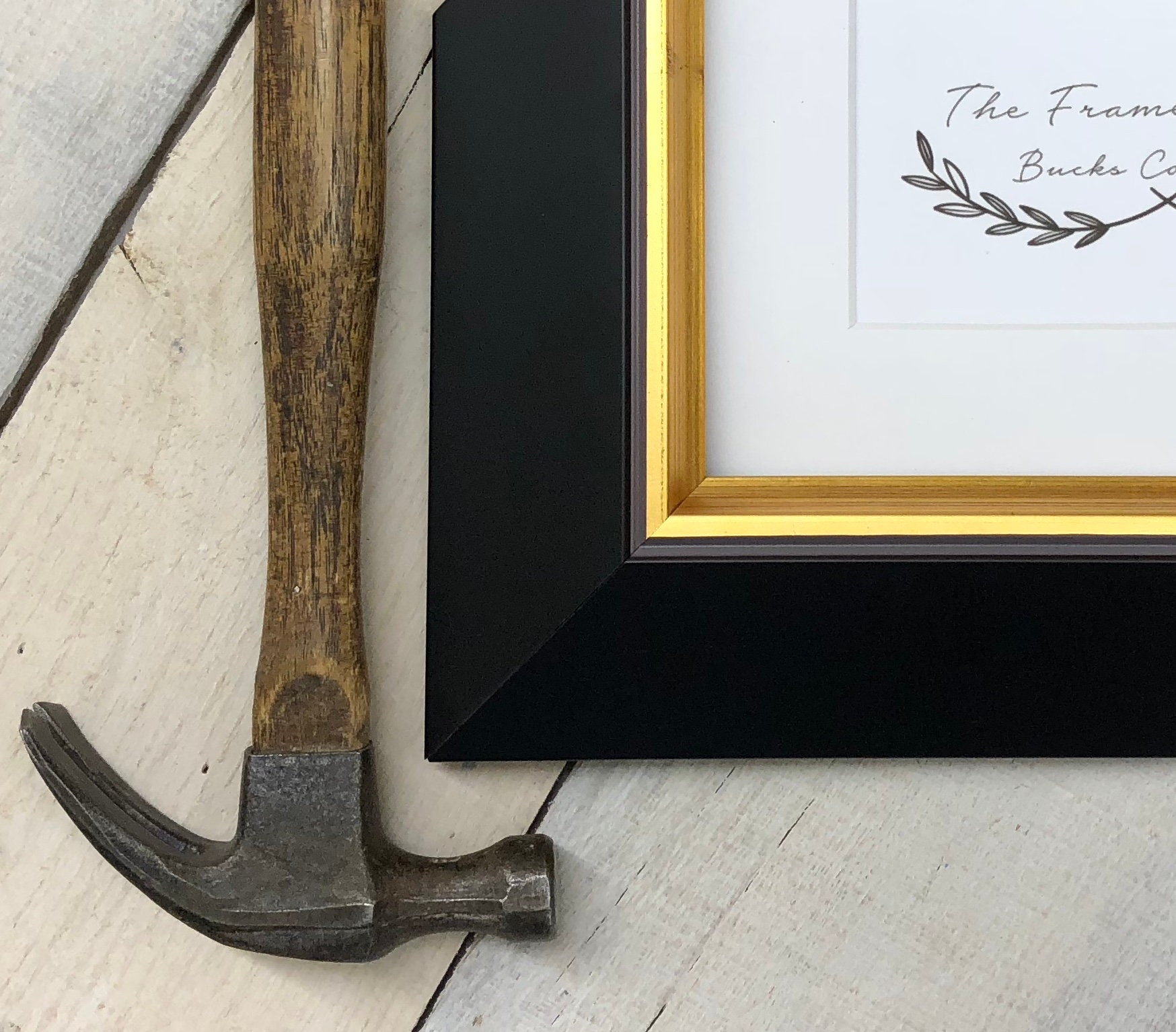 Jazz Black With Gold Large Bevel Wood Picture Frame With
