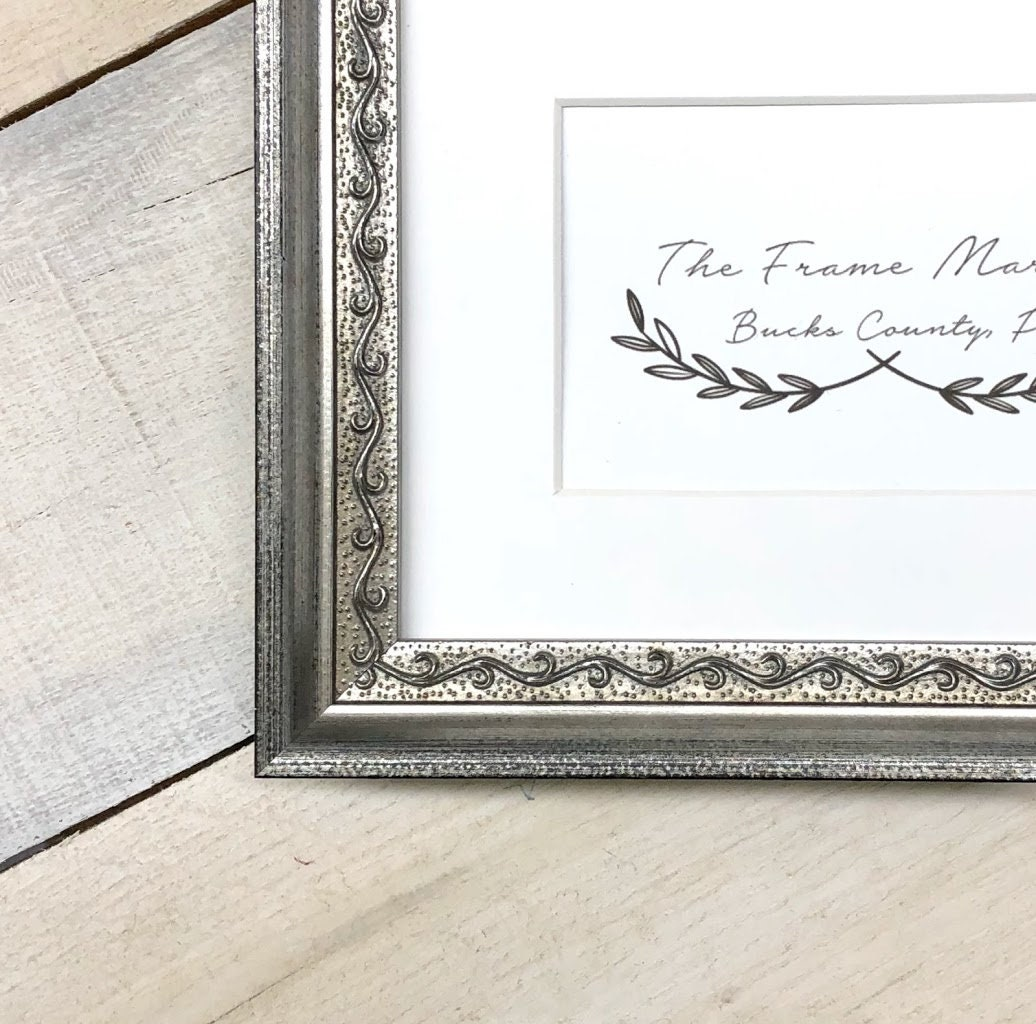 Vineyard Silver 1 Wood Picture Frame With White Mat 8x10