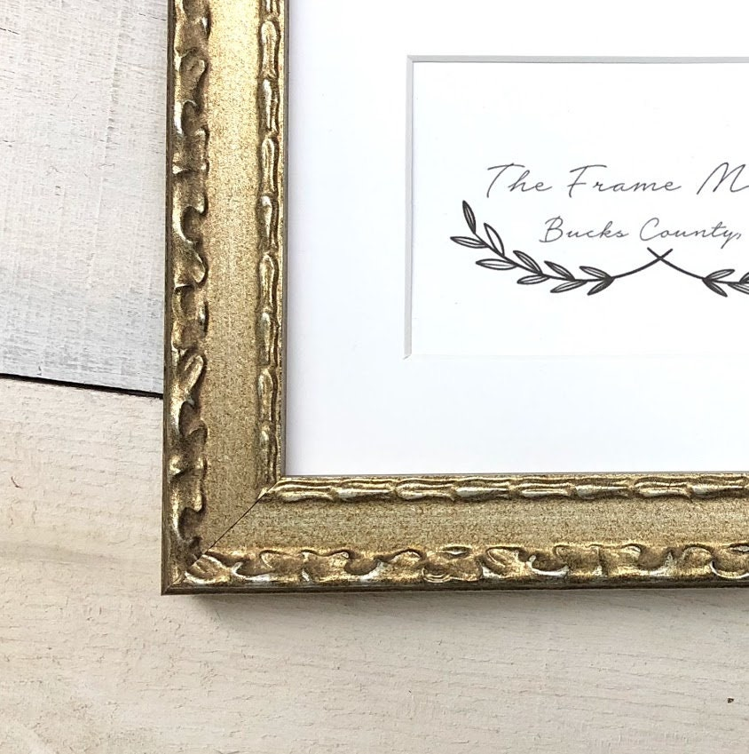 Salon Silver Champagne Wood Picture Frame with Mat 5x7, 6x8, 8x10 ...