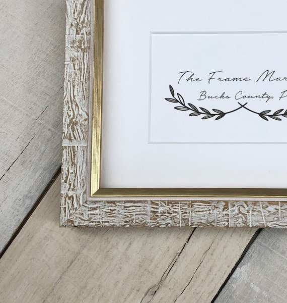 Aspen White Gold Distressed Wood Picture Frame With White