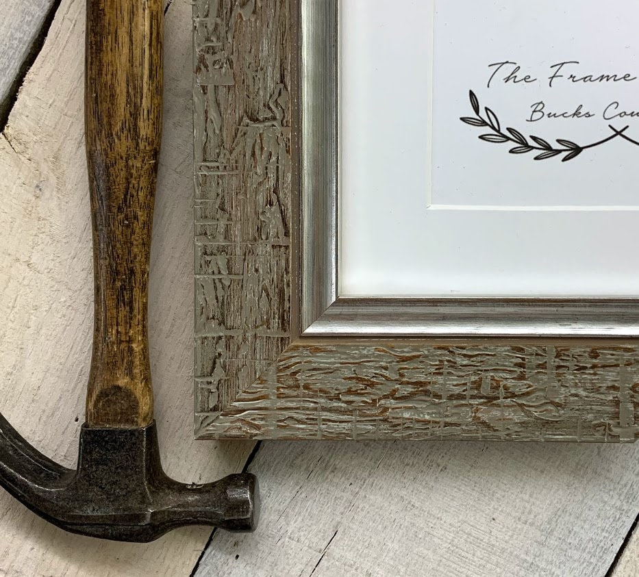 Picture Frame With White Mat Aspen Grey Silver