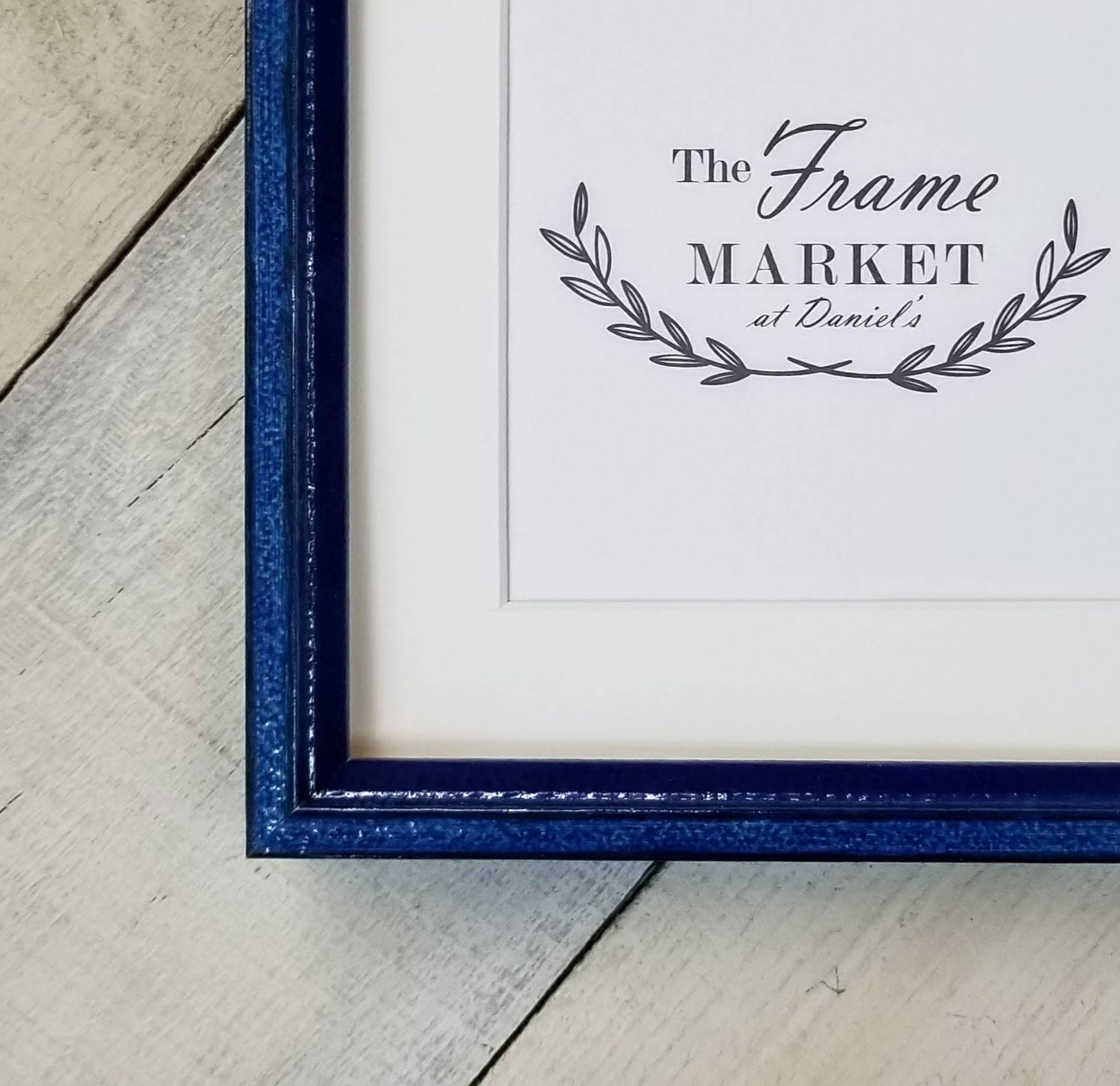 Prism Blue Distressed Wood Picture Frame With White Mat